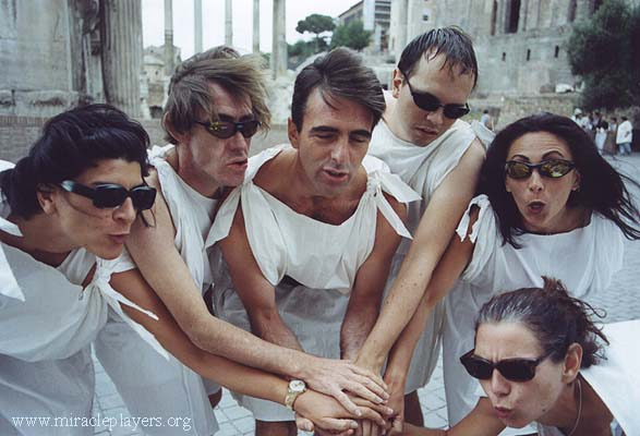 This modern group of actors re-enacts the plotting of the assassination of Caesar